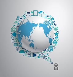 World globe with app icon business social media vector image vector image