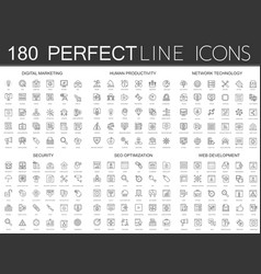 180 modern thin line icons set of digital vector