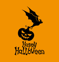 Black bat with pumpkin vector