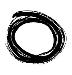 brush ink paint circle stroke hand drawn curve vector image