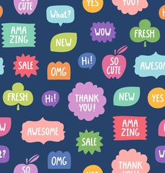 Colorful phrases seamless pattern on blue vector image vector image