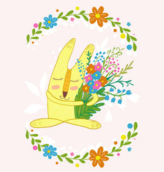 cute bunny with flowers in a frame of flowerscute vector image vector image