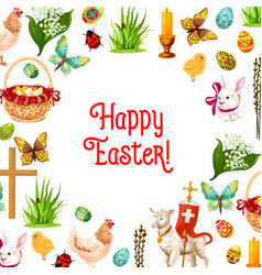 easter symbols poster for greeting card design vector image vector image