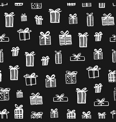 hand drawn seamless pattern christmas presents vector image vector image