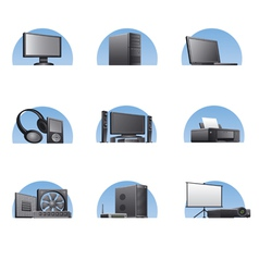 set of computers and electronics devices icons vector image