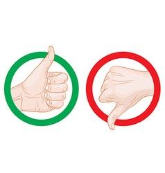 thumb up thumb down symbols vector image