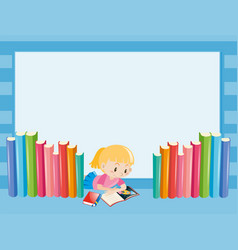Border template with girl reading book vector