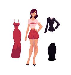 cartoon woman apparel set vector image