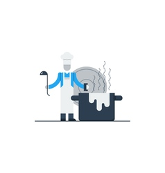 Cook in hat with ladle and pot vector