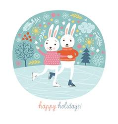 Cute rabbits skate vector image vector image
