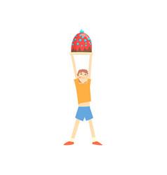 happy boy holding big cake over his head cartoon vector image vector image