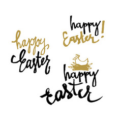 happy easter calligraphy set of holiday vector image