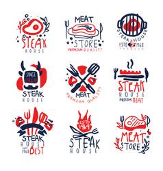 meat store steak house premium quality logo vector image