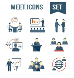 Meet business partners icons set vector image vector image