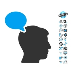 Person opinion icon with air drone tools bonus vector