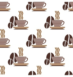 Repeat pattern of a cup of coffee and coffee beans vector image
