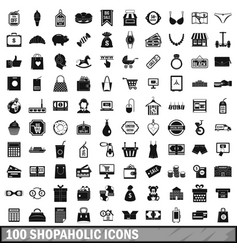 100 shopaholic icons set simple style vector image