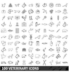 100 veterinary icons set outline style vector