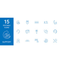 15 support icons vector