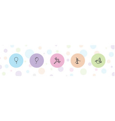 5 fly icons vector