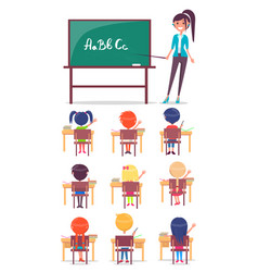 Abc lesson in primary school children sit at desk vector