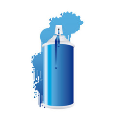 Aerosol spray metal with smoke blue paint vector