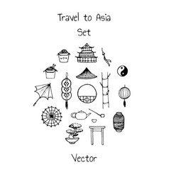 asian set with doodle contours of umbrella coins vector image