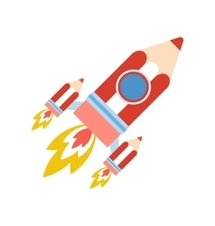 back to school pencil rocket vector image