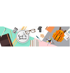 Back to school top angle view desk vector