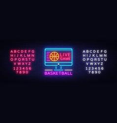 basketball live neon sign vector image