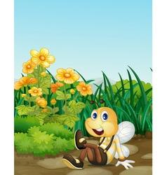 Bee in garden vector image