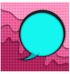 blue comic bubble on pink paper cut background vector image