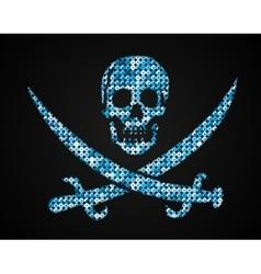 Blue skull Pirate flag Sequins vector