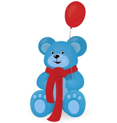 blue teddy bear with red balloon vector image