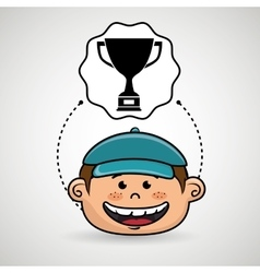 boy cartoon cap icon vector image