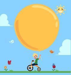 boy riding bike balloon in hand summer banner vector image