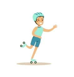 Boy Roller Skating Kid Practicing Different vector