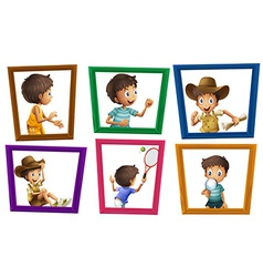 Boys and photo frames vector image