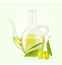 Branch with olives and a bottle of olive oil vector image