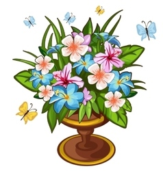 Bright bouquet of flowers in vase and butterfly vector