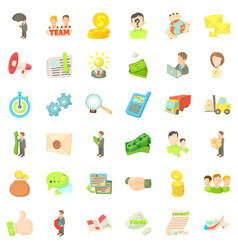 Business company icons set cartoon style vector