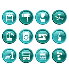 Buttons with silhouette domestic equipment icons vector image