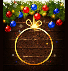 christmas gift card with christmas baubles vector image