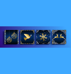 Christmas gold greeting card template set vector