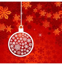 Christmas red snowflake postcard vector image