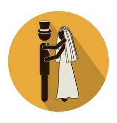 Circular shape pictogram of wedding couple vector