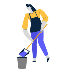 cleaning service woman with scoop and bucket vector image
