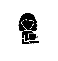 coffee lover black icon sign on isolated vector image