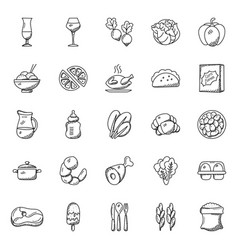 Collection food items doodle icons vector