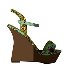 colorful silhouette of sandal shoe with platform vector image